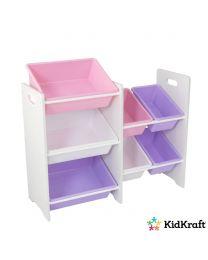 KidKraft - Meuble Avec 7 Casiers De Rangement - Couleurs Pastels Et Blanc