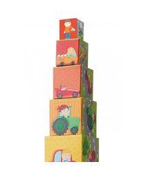 Haba - Cubes à Empiler Petits Bolides - Bois