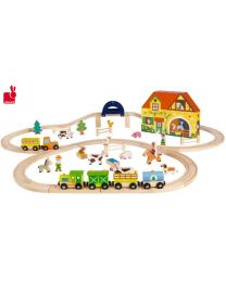 Janod - Circuit Story Express Ferme - Train en bois