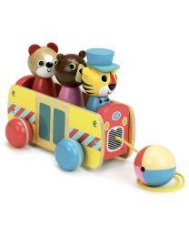 Vilac - Jouet àtirer bus à formes en bois